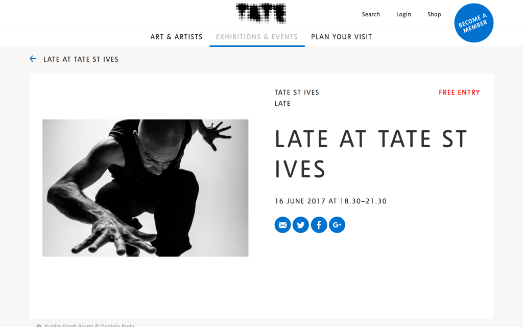 Screenshot from web of Late at Tate entry on Tate St Ives website. Showing black and white photo of a dancer leaping.