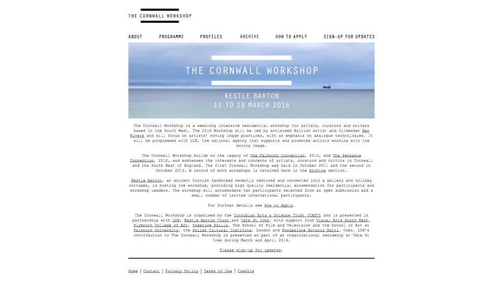 Screen shot showing the title 'The Cornwall Workshop'