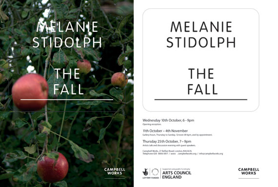Invite to exhibition featuring a hotograph of red apple falling from a tree
